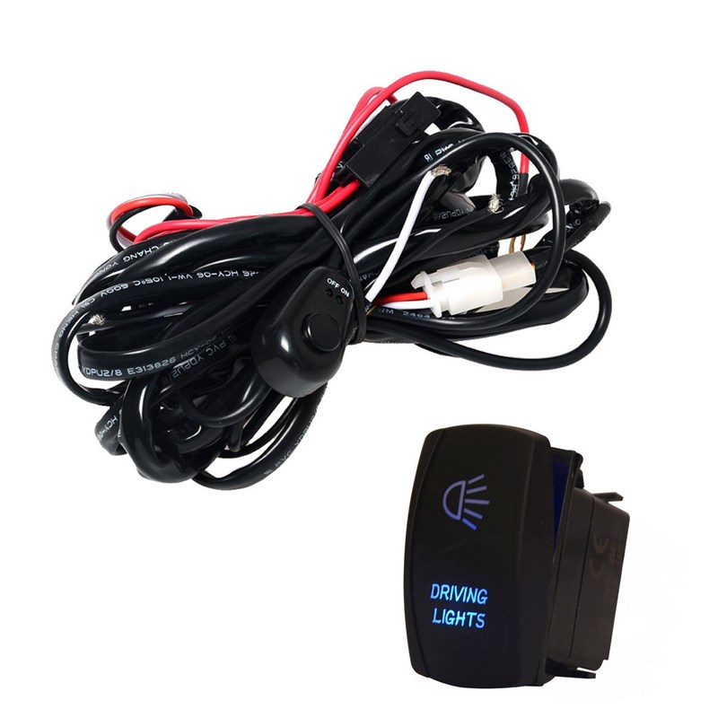 EE support 40A 300W Wiring Harness Kit LED Light Bar Laser Rocker Switch Fuse Driving Car Styling XY01