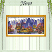 The autumn leaves and Li river Guilin landscape Counted print on canvas DMC14CT 11CT Cross Stitch Needlework kits Embroider Sets