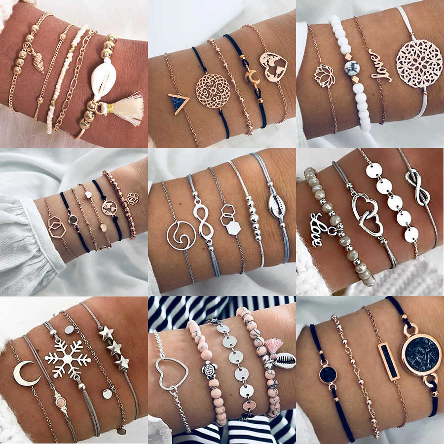 Boho Jewelry Bracelets & Bangles for Women Bohemian Vintage Bead Bracelets Set For Women Fashion Multilayer Accessories Bijoux