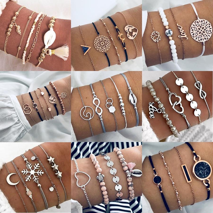 Boho Bijoux Bracelets & Bracelets pour femmes bohème Vintage perle Bracelets ensemble pour femmes mode multicouche accessoires Bijoux