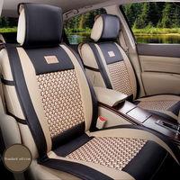 5-Seat PU Leder Autositzbezüge Für Auto Styling Vorne + Hinten Full Set Farbe Schwarz/Beige mit 2 Neck & Lenden Unterstützt