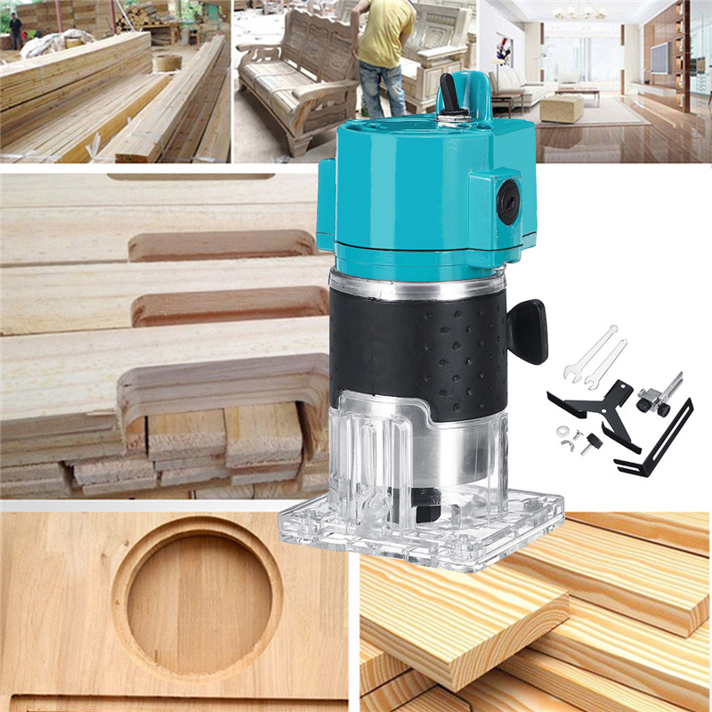 110V/220V 1300W 1/4 30000RPM Electric Hand Trimmer Wood Laminate Palms Router Joiners Power Tool Woodwork Carving Machine Trim - 2