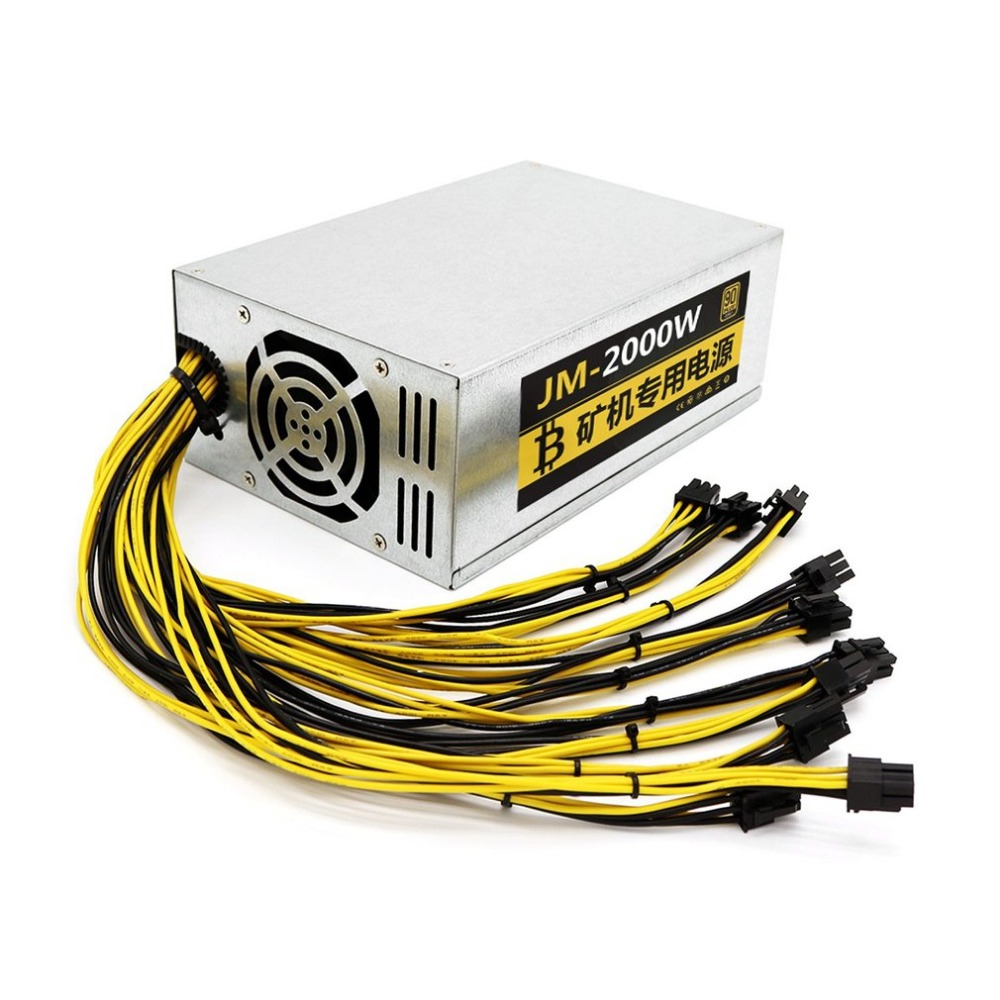 High Conversion Rate Durable Metal Shell 2000W 8 Card Metal Miner Mining Machine Power Supply For Eth Ethereum 90