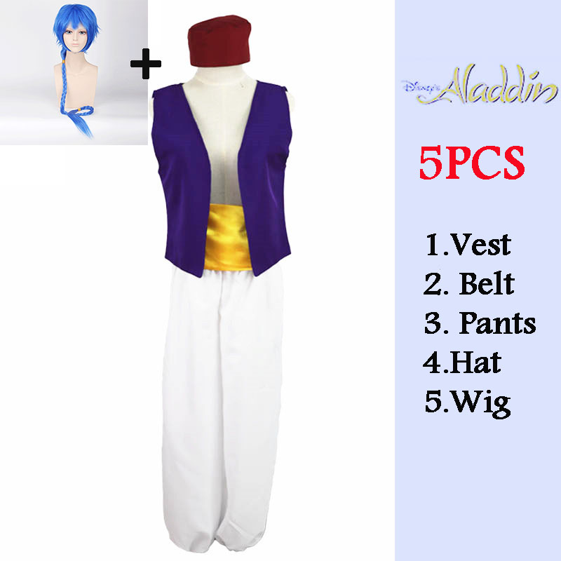 Carnival costume Anime Aladdin Lamp Prince Cosplay Costume Adult Halloween Costume For Men Aladdin Play Costume Full Set and wig