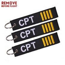 Remove Before Flight Key Chain 3PCS/LOT Captain Gifts Tag OEM Embroidery Motorcyclesr and Car KeyRing chaveiro llavero