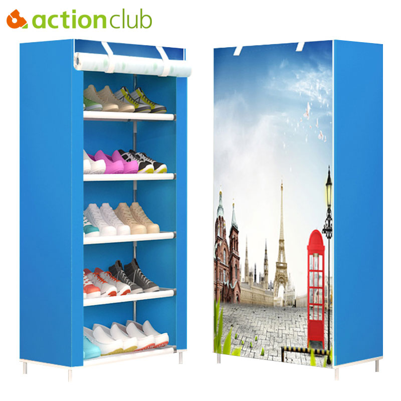 Actionclub Six Layers Non-woven Cloth Storage Shoe Cabinet Dustproof Shoe Rack DIY Shelves Space Saver Shoe Organizer Shelf