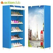 Actionclub ست طبقات قماش متعدد الاستخدامات تخزين خزانة خذاء الغبار رف الأحذية لتقوم بها بنفسك رفوف الفضاء التوقف أداة تنظيم الأحذية الرف