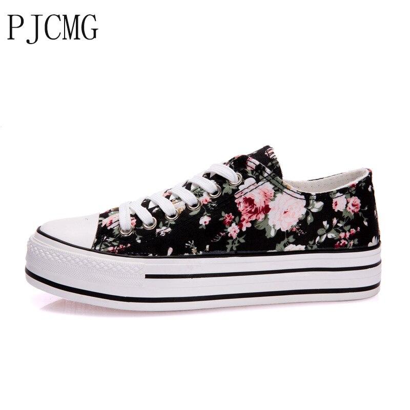 Prix pour PJCMG D'origine Nouvelle Arrivée 2017 Floral Augmenté Femmes chaussures de Skate Chaussures