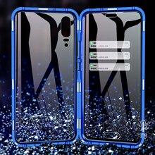 Luxo dupla face frente traseira de vidro transparente metal magnético caso para samsung galaxy a7 a8 a9 2018 a50 360 graus capa completa casos