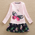 New girl summer dress embroidered long-sleeved butterfly flower sweet cotton baby clothes round collar a-line dress LH5460