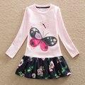 Nueva chica del verano vestido bordado de manga larga de la mariposa de la flor dulce ropa de bebé de algodón de cuello redondo a-line vestido LH5460