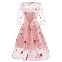 2019 Summer Floral Embroidery Dress Sexy See Through Mesh Tulle Women Retro Dresses Pink Half Sleeve Bowknot Boho Party Dress