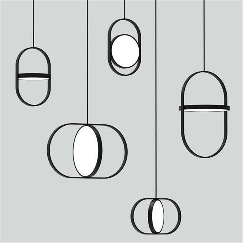 Simple postmodern double round LED pendant light fashion living room office restaurant cafe bedroom bedside lamp