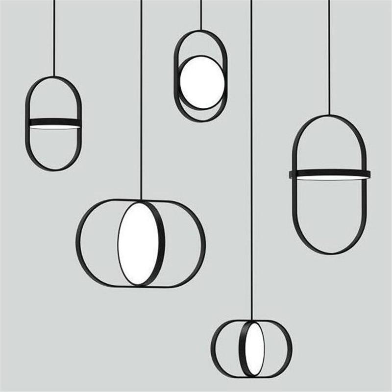 シンプルなポストモダンダブルラウンド LED ペンダントライトファッションリビングルームオフィスレストランカフェ寝室のベッドサイドランプ送料無料  グループ上の ライト & 照明 からの ペンダントライト の中 1