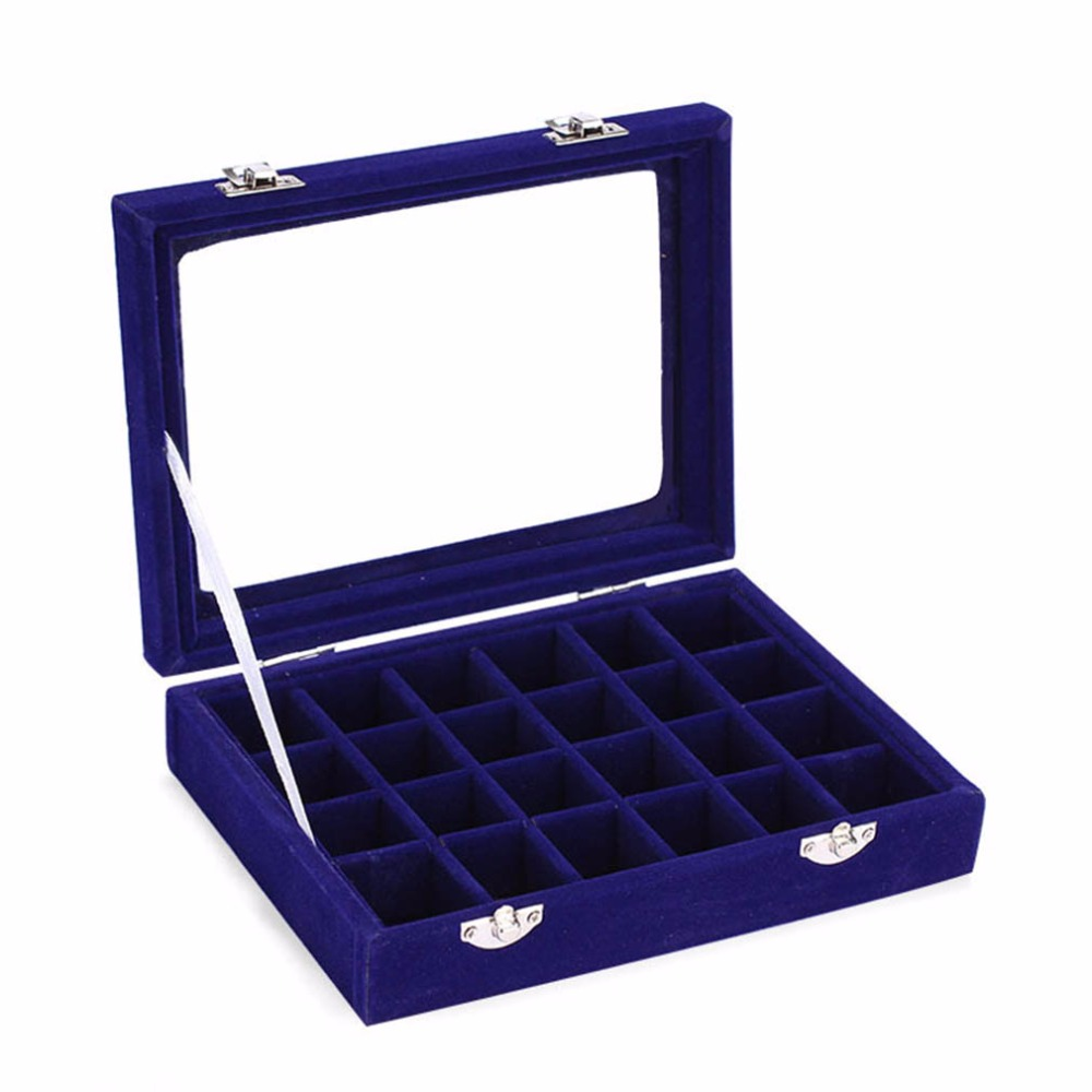 24 Slots Velvet Women Desk Jewelry Storage Box Portable Ring Necklace Jewelry Carrying Case Women Home
