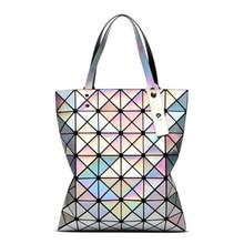 Womens Diamond Geometric Deformation Tote Bag Irregular Folding Shoulder Holographic Laser Bucket women handbags