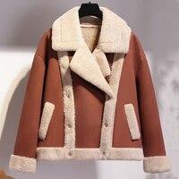 Russian Style Winter Women Fur Lined Coats Short Beige Color Women Faux Fur Leather Jacket Overcoat