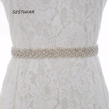 Rhinestones Wedding Dress Belt Sliver Crystal Bridal Sash Diamond Bridal Belt For Women J116S