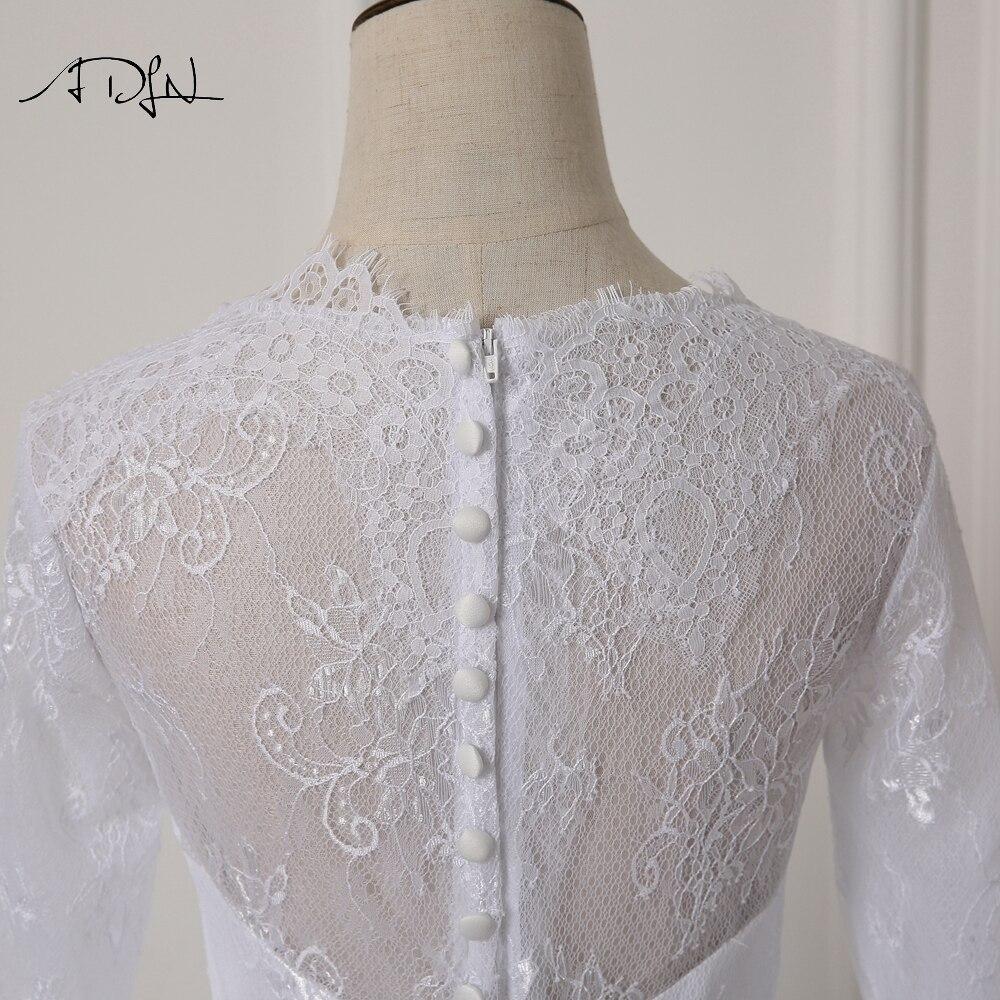 ADLN Elegant Scoop rochie de mireasa cu maneca lunga Lace A-line Alb - Rochii de mireasa - Fotografie 5