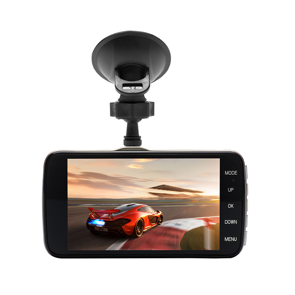 2018 Auto 4 Inch Dash Cam Car DVR Video Recorder Dual Lens Hd Night Vision Cam Corder Registrator with Backup Rearview Cameras