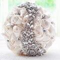 2016 nuevos calientes crystal Wedding Bouquet Broche Rojo ramo de flores artificiales de La Boda Nupcial de la Novia Ramos accesorios de la boda de dama de Honor