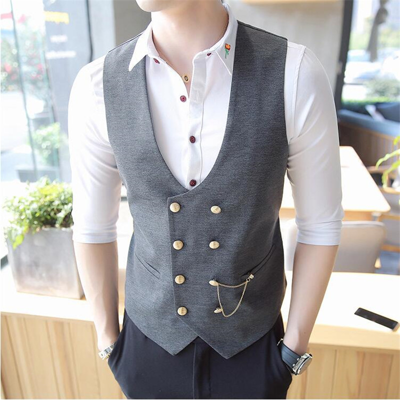 2019 New Men Double-Breasted Vest Men Designer Slim Sleeveless Dress Suit Vest Gray Black Fashion Men Business Casual Suit Vest