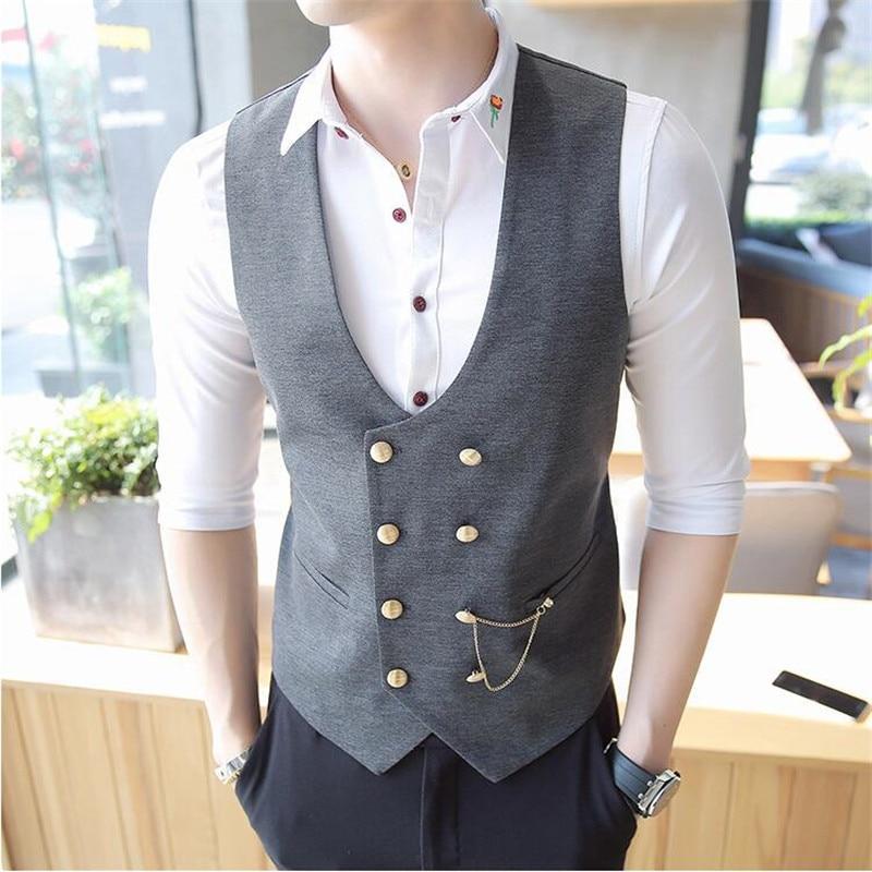 2019 New Men Double-Breasted Vest Men Designer Slim Sleeveless Dress Suit Vest Gray Black Fashion Men Business Casual Suit Vest