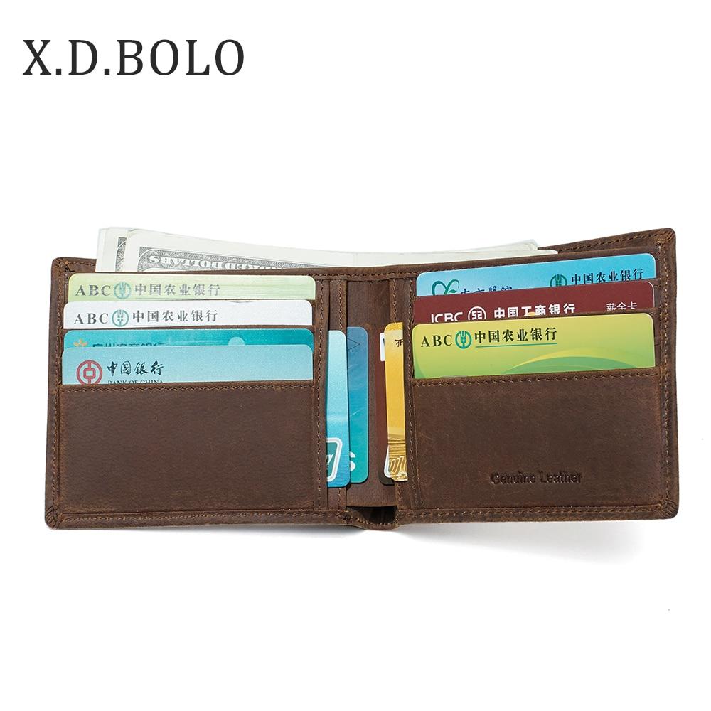 X.D.BOLO Wallet Purses Card-Holder Short Crazy-Horse Genuine-Cowhide Man Men