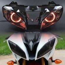 R6 08 15 Đỏ Thiên Thần Tùy Chỉnh Máy Chiếu Đèn Pha Trốn Lắp Ráp Đèn Pha Phù Hợp Với Cho Yamaha YZF R6 2008 2015