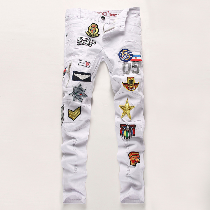 ФОТО High Quality Patchowrk Jeans Men 2016 New Designer Skinny White Pants Elastic Denim Overall Slim Fit Casual Mens Clothing