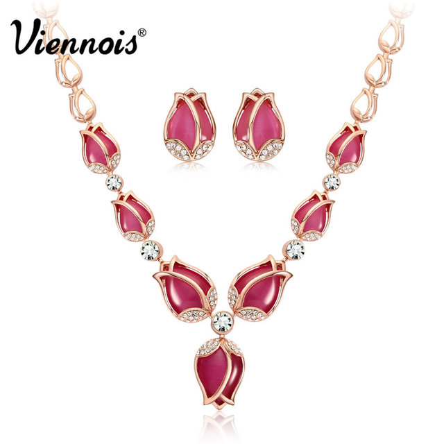 Viennois Rose Gold Color Red Opal Stone Jewelry Set for Woman Full