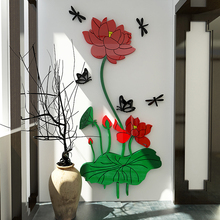 Chinese style lotus flower wall clear acrylic stickers decor living room