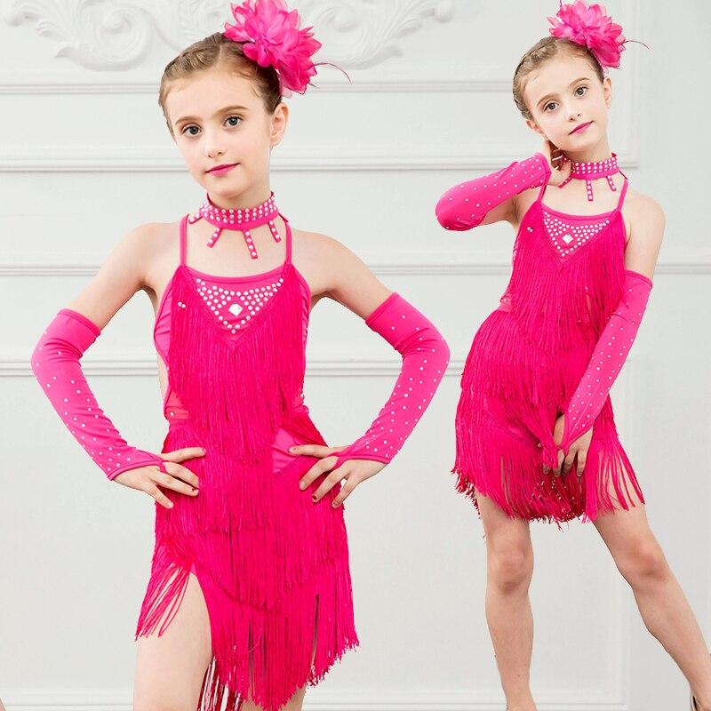 ერთი ნაკრები გოგონები ლათინური კაბა Chacha Rumba Dancewear tassel სუფთა ფერი შესრულება 2layer dress