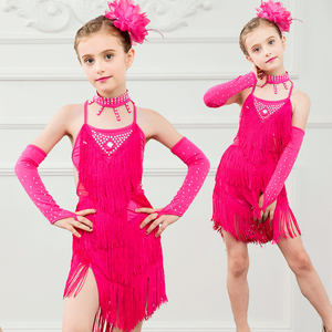 One set Girls latin Dress Chacha Rumba Dancewear tassel pure color Performance 2layers dress