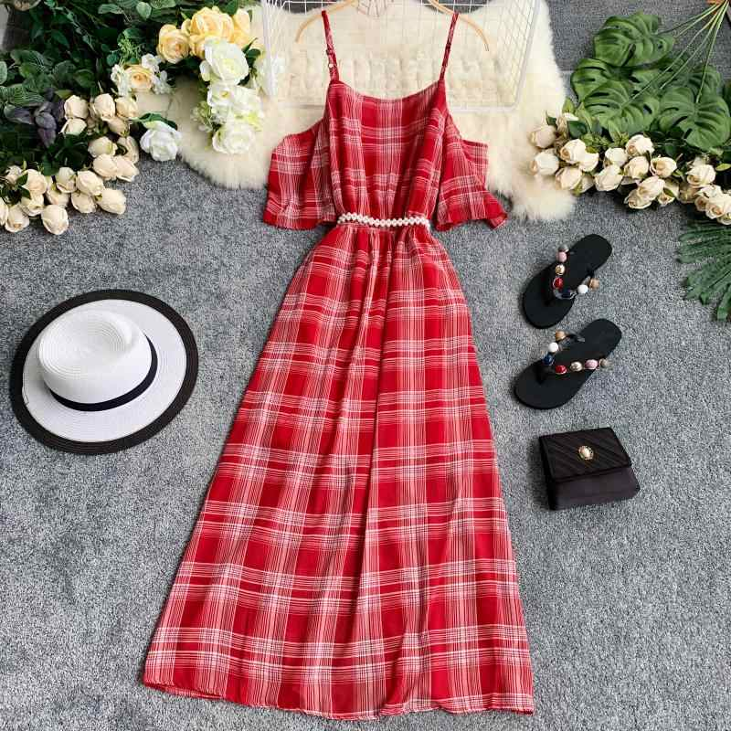 Boho Кнопка пикантные летние с открытыми плечами Plaid Midi длинное платье повязки вечерние Для женщин Повседневное Спагетти Ремень Пляжный с завышенной талией Vestidos