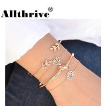 4 шт / набор Женская мода геометрический лист круглый завязанный браслет браслет летние сплава чешский золотой браслет браслет цвет для женщин