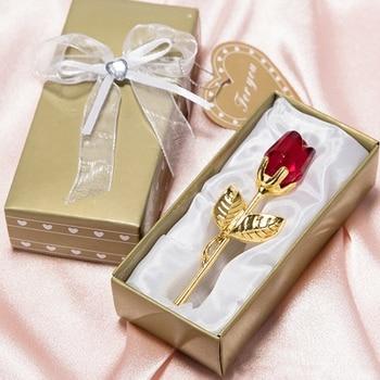 Fiesta de aniversario de regalo de San Valentín de cristal Artificial romántico de flores eternas de Rosa simulada