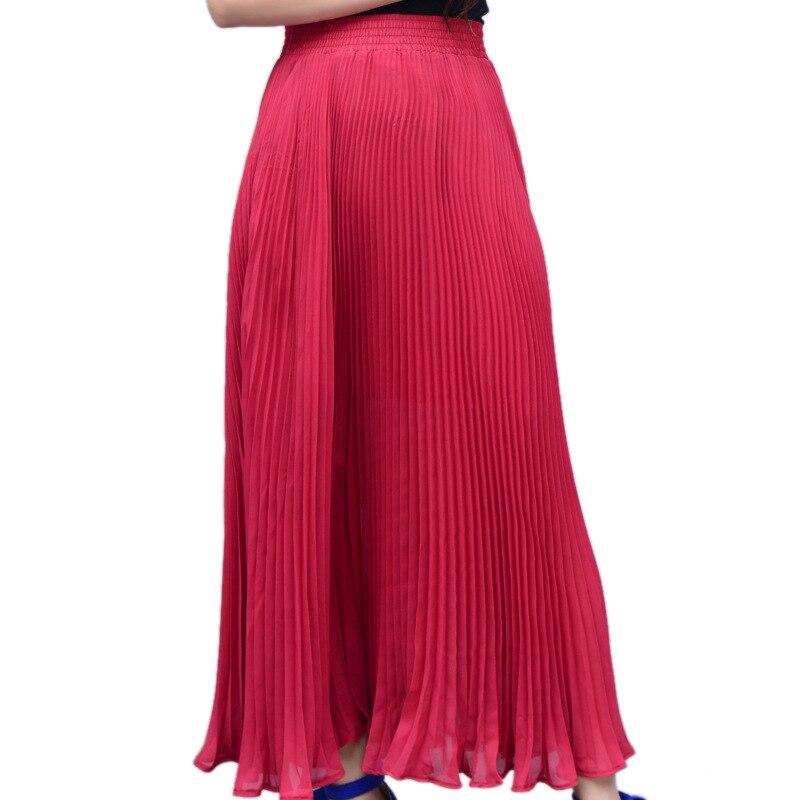 Vientisa spalva sifono ilgos sijonas elegantiškas pavasario vasaros - Moteriški drabužiai - Nuotrauka 5