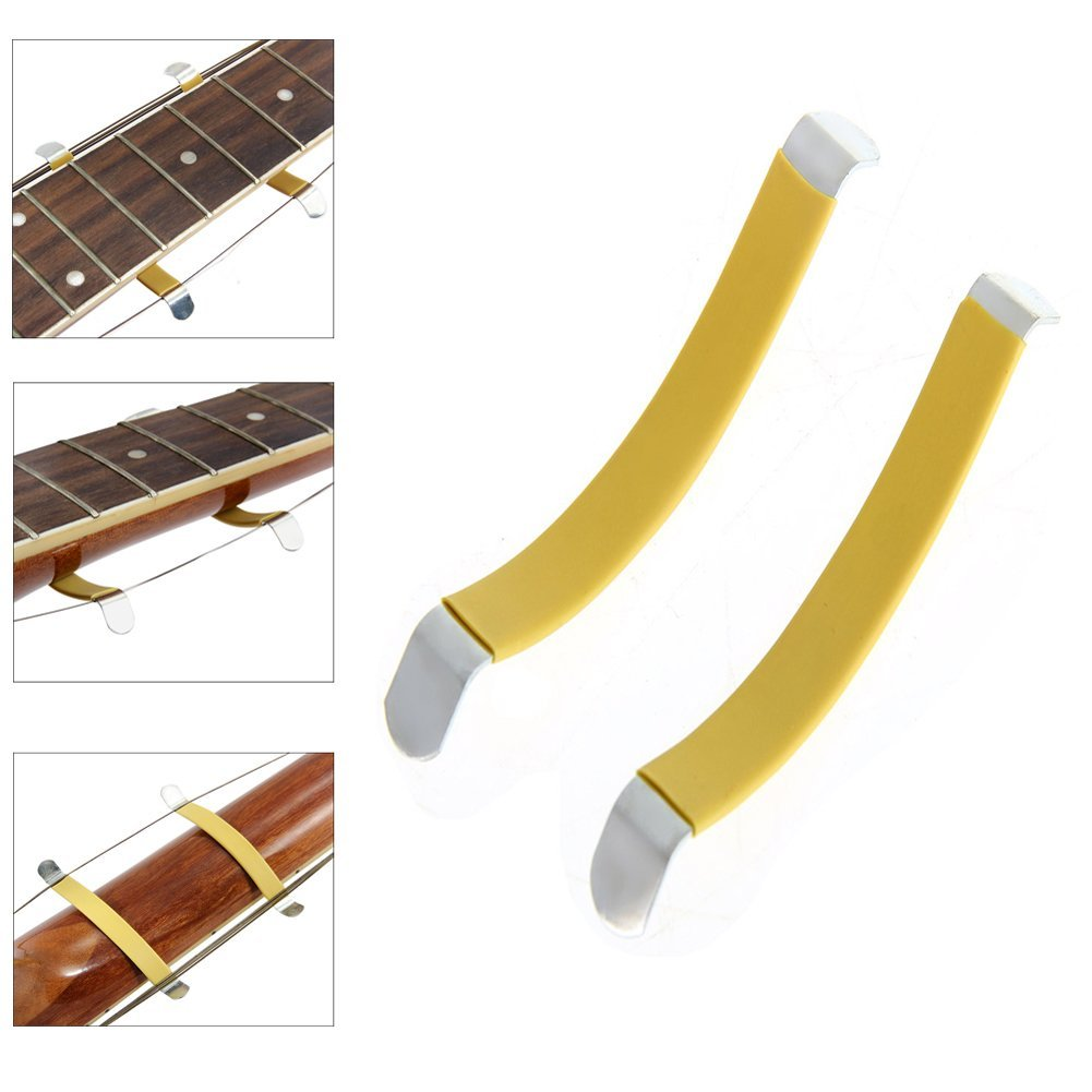2Pcs Metal String Spreaders Guitar Luthier Tool for Cleaning Fretboard Yellow