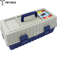 PW TOOLS 17 Inches 3 Layers Plastic Folding Ladder Type Tool Box Strongly Portable Tools Cases