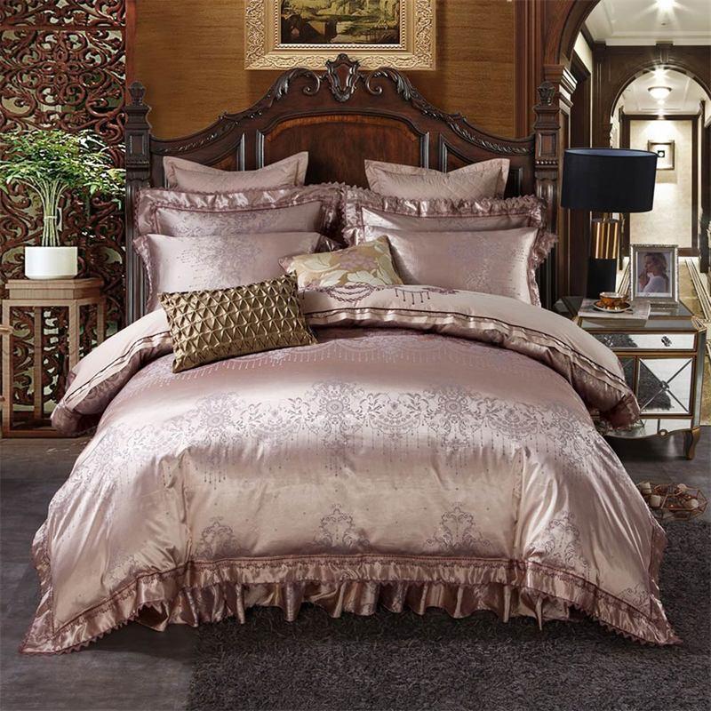 Svetanya quilted Bedskirt Duvet cover Pillowcase Bedding Set jacquard Linen double queen king size Bedclothes