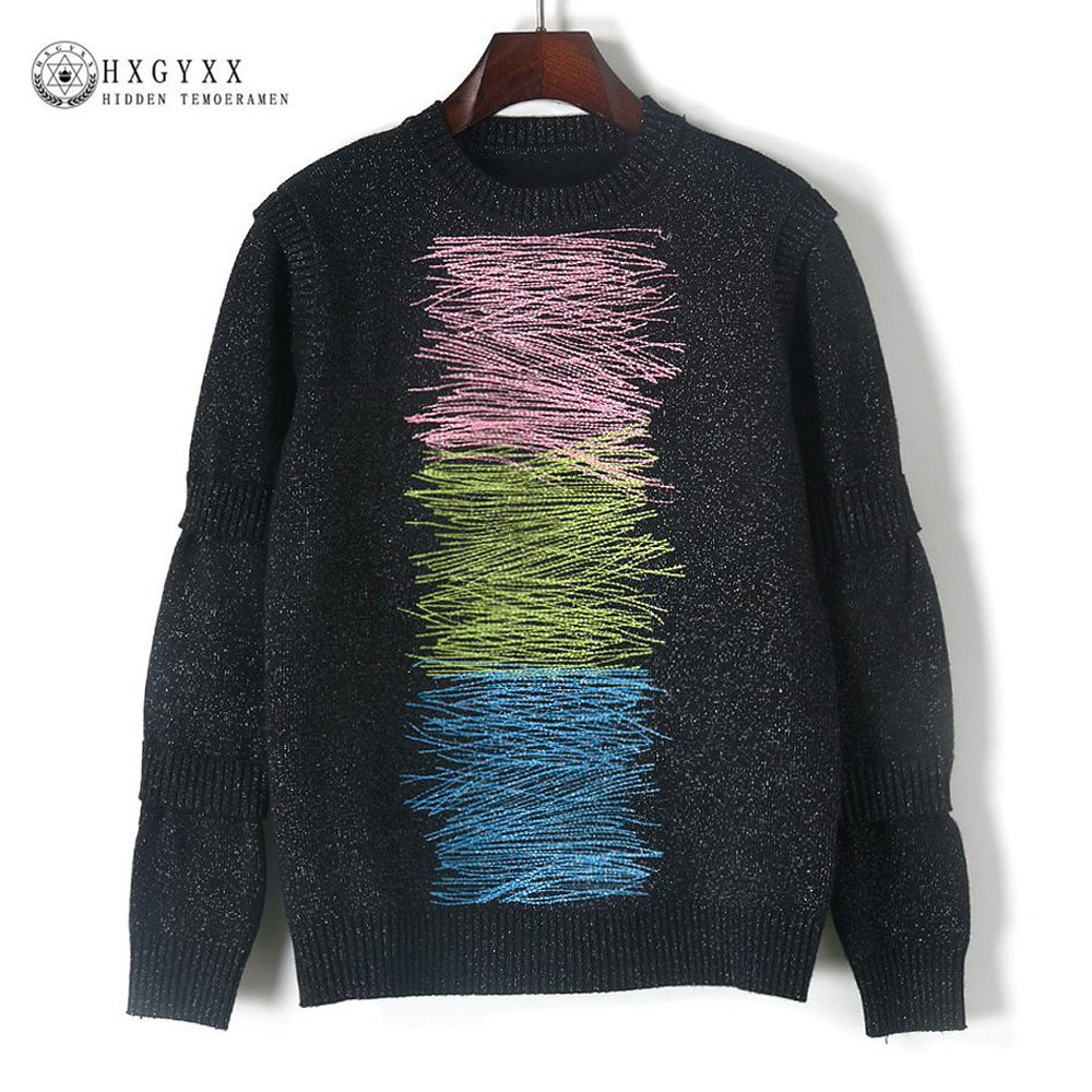 Runway Designer Pullover 2018 Autumn Winter Sweater Women Three Color Line Patchwork Long Sleeve Brand Knit Jumper Tops okb491