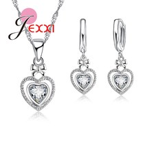 JEXXI Romantic Wedding Jewelry Love Gifts Silver Women Fashion Hollow Double Hearts Rhinestone Crystal Necklace Earrings Set