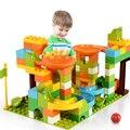 Мраморный гоночный лабиринт большого размера  Шариковая дорожка  совместимый с Duploed строительный блок  воронки  горки  DIY кирпичные игрушки ...