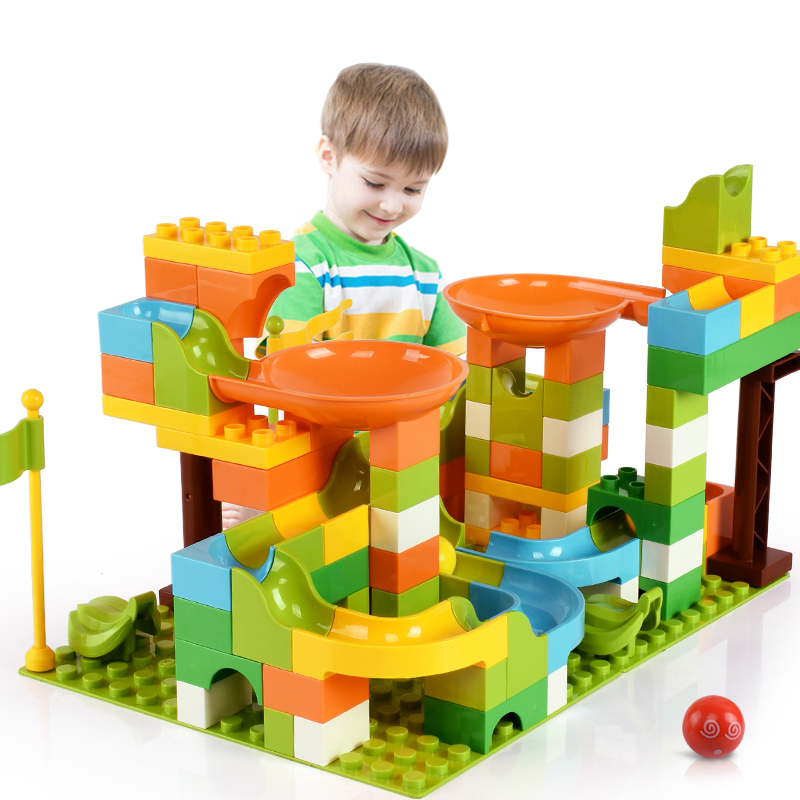 Marble Race Run Block Maze Ball Track Building Blocks Funnel Slide Catapult Function Blocks DIY Brick Building Toys For Children