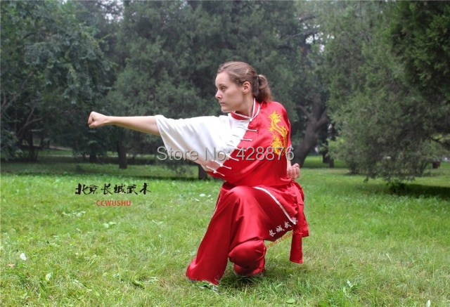 Tai chi under short sleeve show costumes embroidered dragon Moring Exercise kung fu clothing competition Kungfu fighting garment