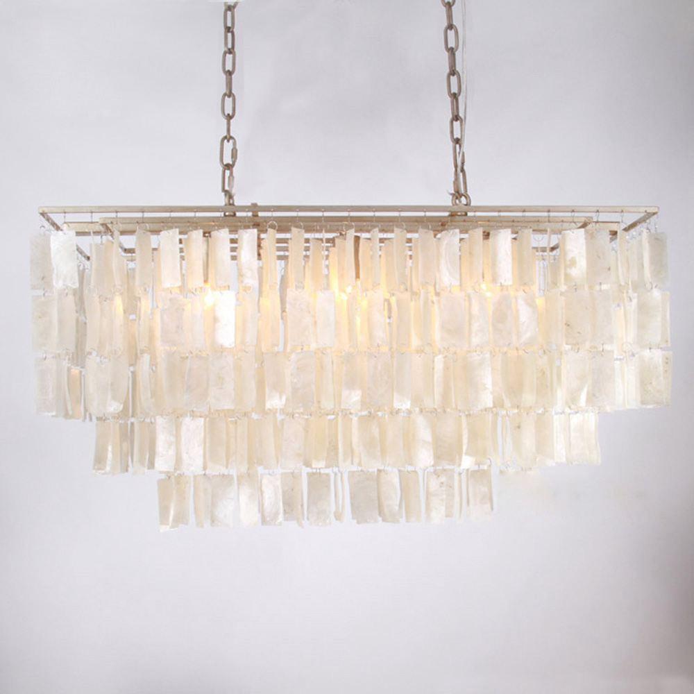 Us 599 9 Modern Natural White Shells Chains Restaurant Pendant Light Le Dining Room Lighting Bar Counter Hanging Lamps In Lights