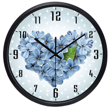 Classical Modern Heart Flower Wall Clock Glass Face Metal Retro Beautiful All Match Clock for Girl Room, Living room Bedroom