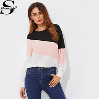 Sheinside Cut And Sew Buttoned Keyhole Back Patchwork Blouse 2017 Round Neck Long Sleeve Tunic Blouse