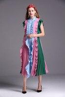 High Quality 2016 Spring Summer Stringy Selvedge Dress Fashion Woman Sleeveless Dress M XXL Size